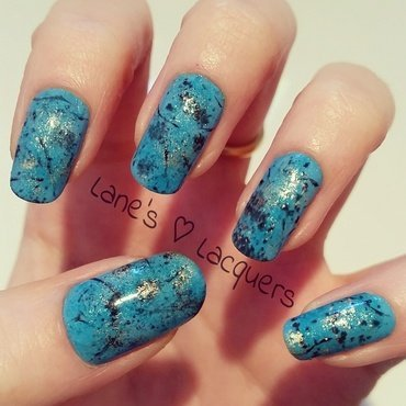 Turquoise Gemstones nail art by Rebecca