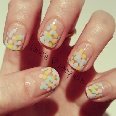 Rainbow Drops nail art by Rebecca