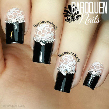White Lace nail art by BaroquenNails