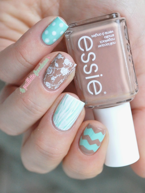 mint and leather nail art by nathalie lapaillettefrondeuse