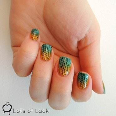 Turquoise-Yellow Stamping nail art by LotsOfLack