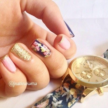 Vintage Navy Blue Floral (1) nail art by ℐustine