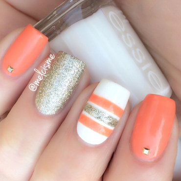 Summery stripes nail art by Melissa