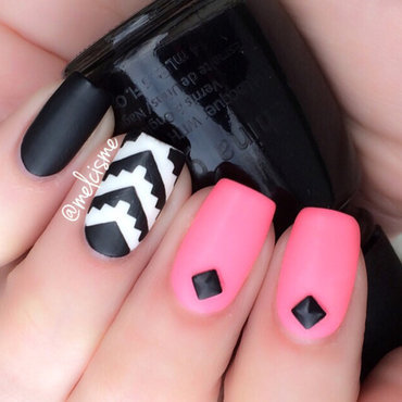 Matte/Tribal nail art by Melissa