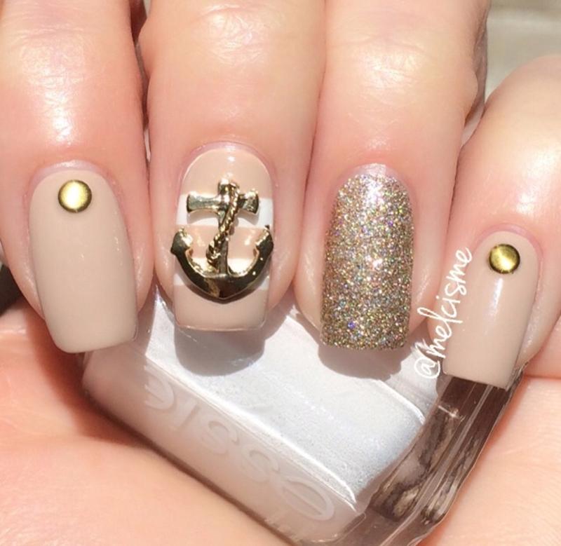 Neutral Nautical design nail art by Melissa