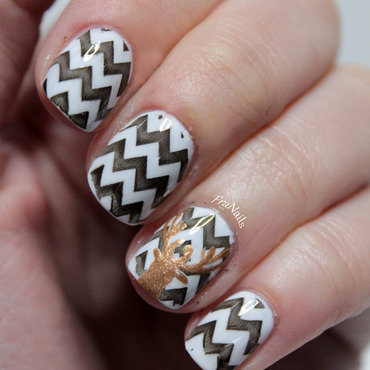 Deer Nails nail art by Fran Nails