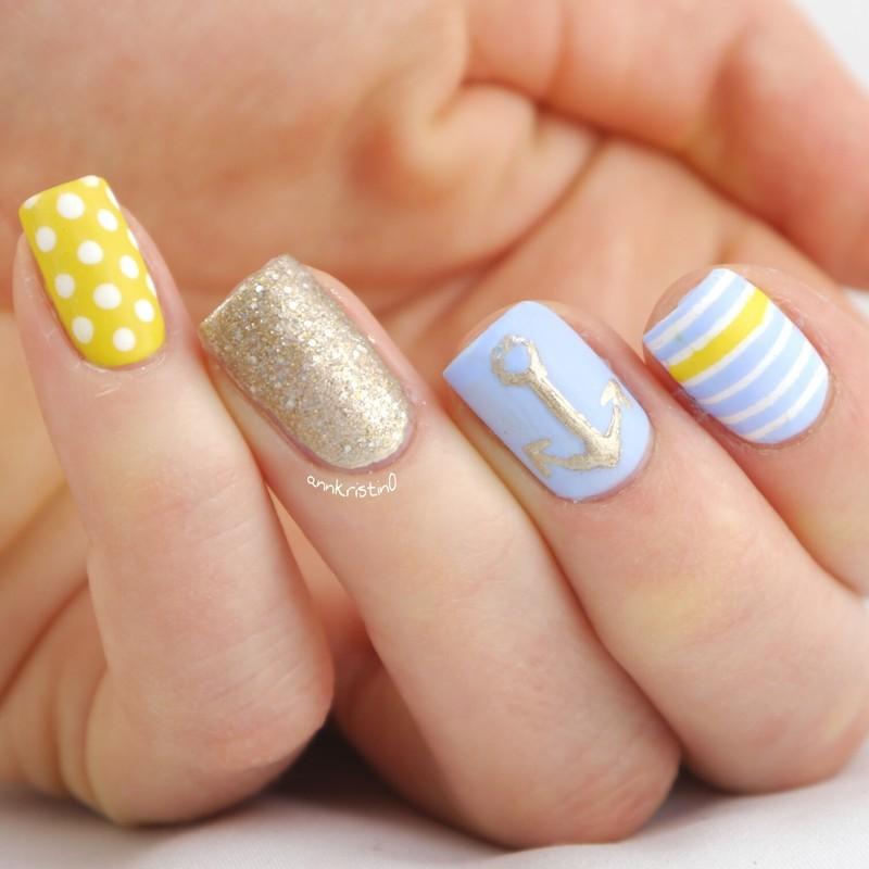 Pastel Nautical Nails nail art by Ann-Kristin