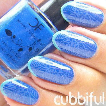 Stamping and French Tip Nails nail art by Cubbiful