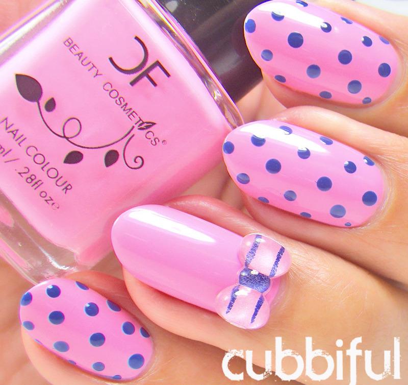 Pink Polka Dots Nails nail art by Cubbiful