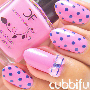 Pink Polka Dots Nails nail art by Cubbiful