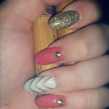 Girly and Gold nail art by Ashley