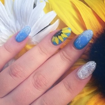 Simple Sunflower nail art by Ashley
