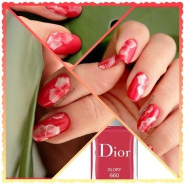 Coral flower nail art by Elodie Mayer