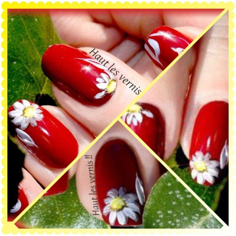 Daisy nail art by Elodie Mayer