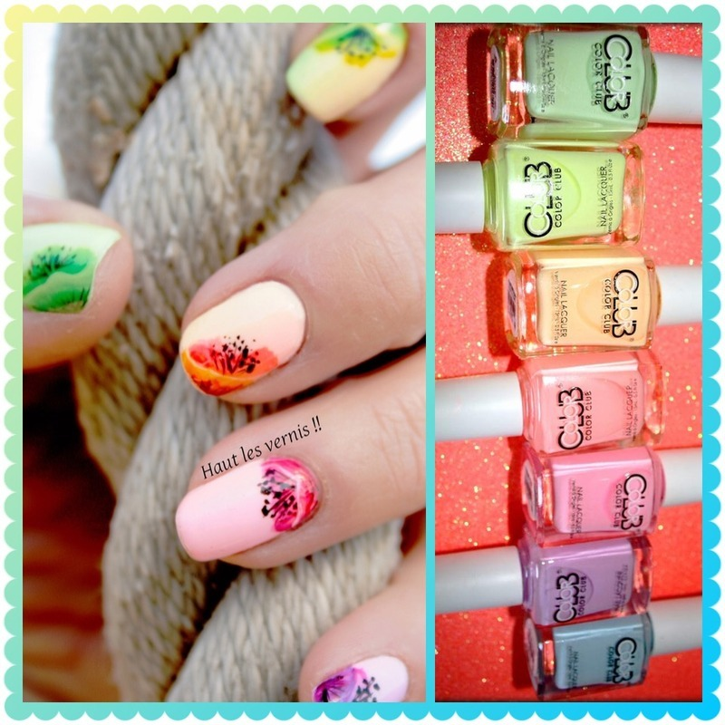Neon pastel nail art by Elodie Mayer
