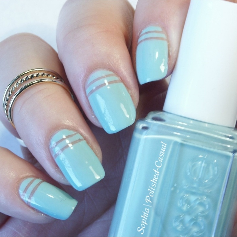 Simple stripes with essie mint candy apple nail art by Sophia ...
