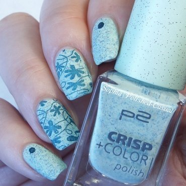 p2 crisp+color 070 cool milkshake with texured stamping nail art by Sophia