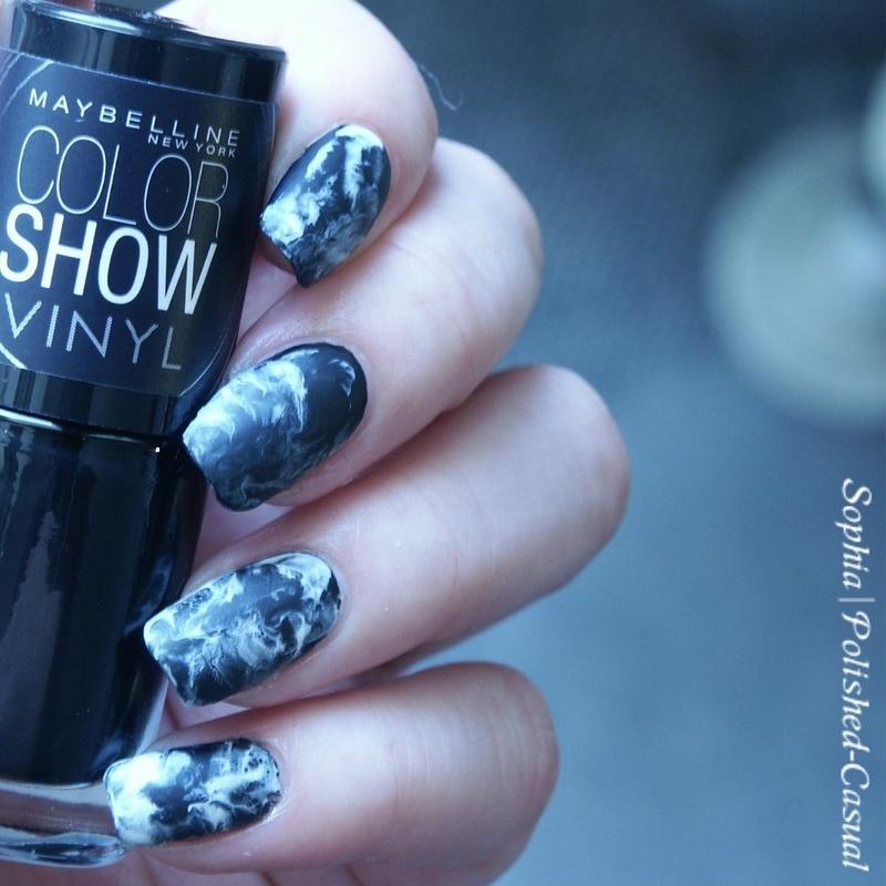 Smoky Marble nail art by Sophia
