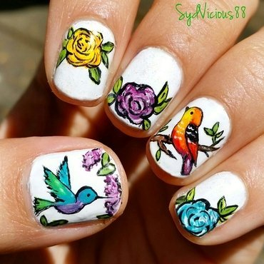 Birdies and Roses nail art by SydVicious