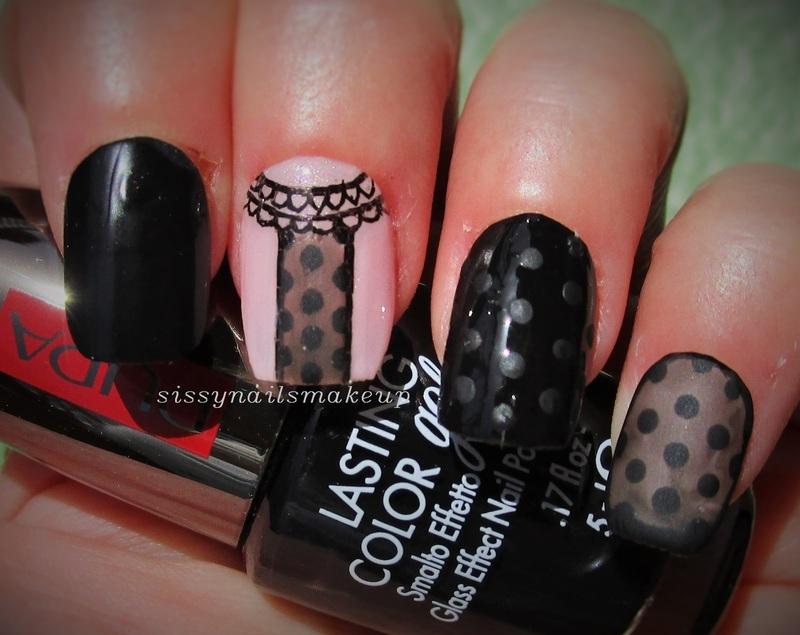 Sheer lace & dots mani - matte nail art by sissynailsmakeup