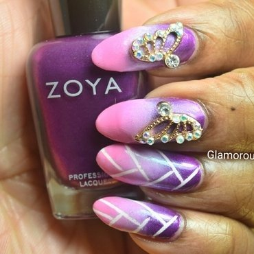 Braided/Weaved Ombré nail art by glamorousnails23