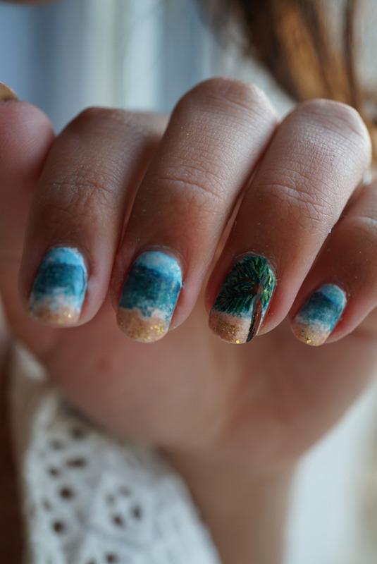 tropical nails nail art by Cathy Neves