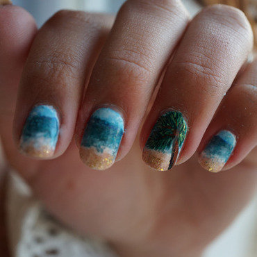 tropical nails nail art by Cathy Neves