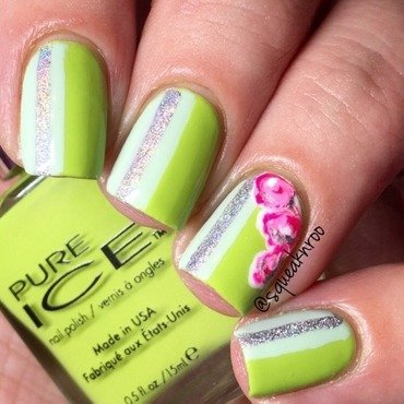 #bestietwinnails spring colors with stripe & flowers  nail art by Squeaknroo