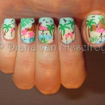 Flamingo scene nail art by Diana van Nisselroy