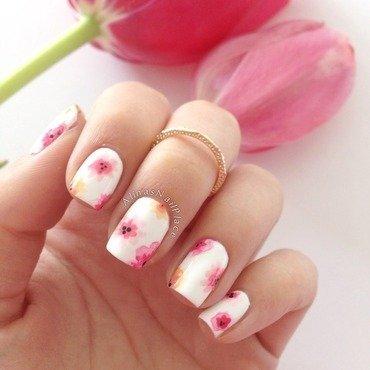 Aquarelle Flowers nail art by Alina E.
