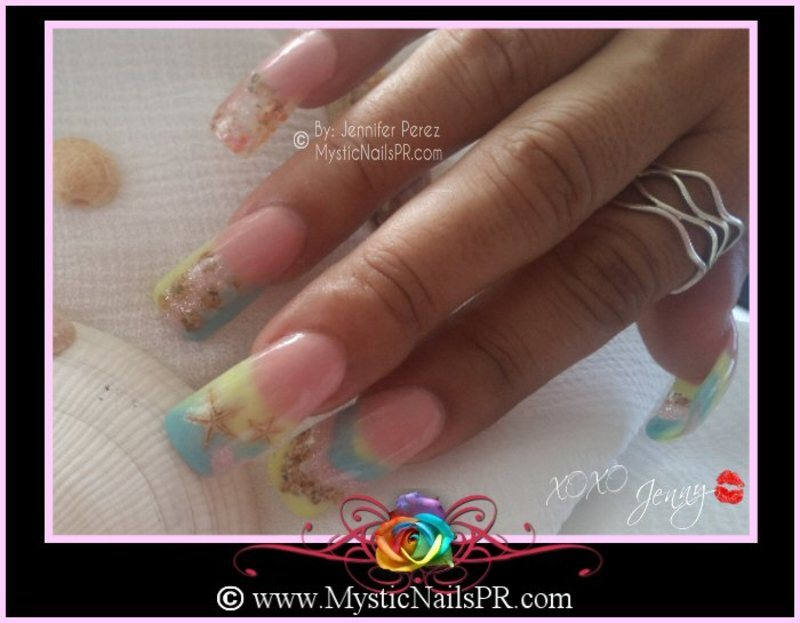 Spring Summertime Starfish :::... ♥ Jennifer Perez nail art by Jennifer Perez ♥ Mystic Nails