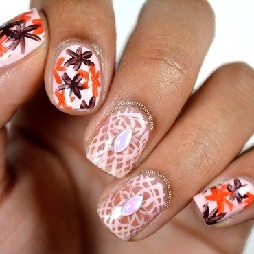 Boho Lace and Flowers nail art by Fatimah