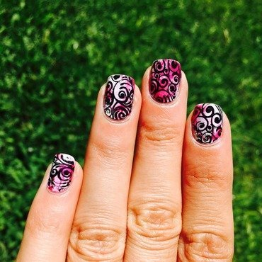 Stamped Pink Saran nails  nail art by Ashley