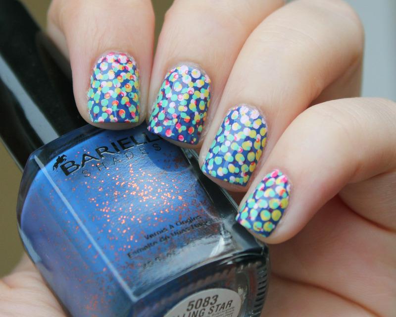 Confetti Polka Dots nail art by Moriesnailart