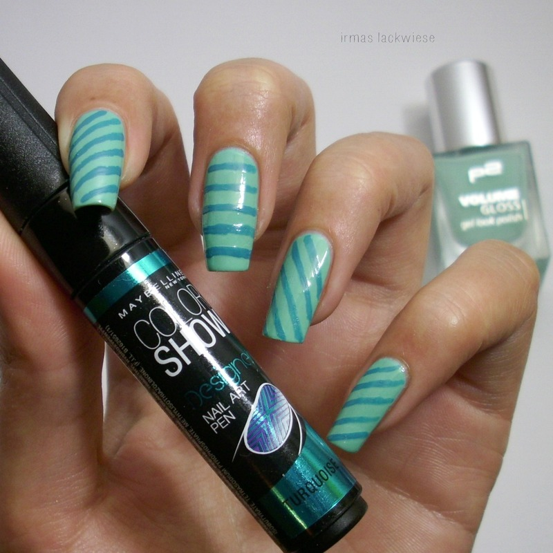 turquoise stripes nail art by irma