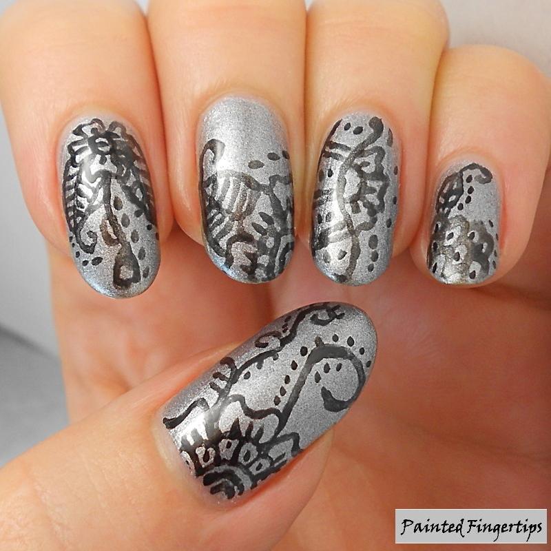 Freehand nail art using eyeliner nail art by Kerry_Fingertips ...