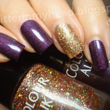 Plum & Gold nail art by The Wonderful Pinkness