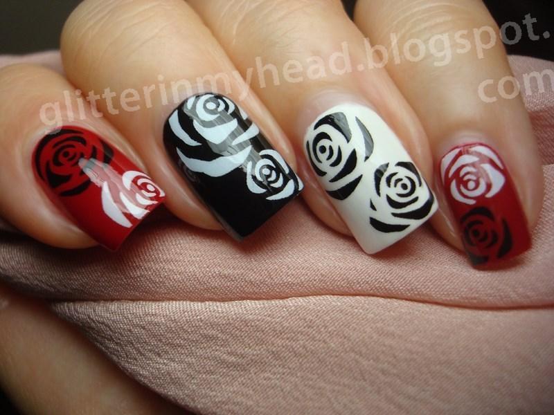 Black White Roses Nail Art By The Wonderful Pinkness Nailpolis