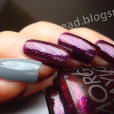 Sparkling cherry & Gray nail art by The Wonderful Pinkness