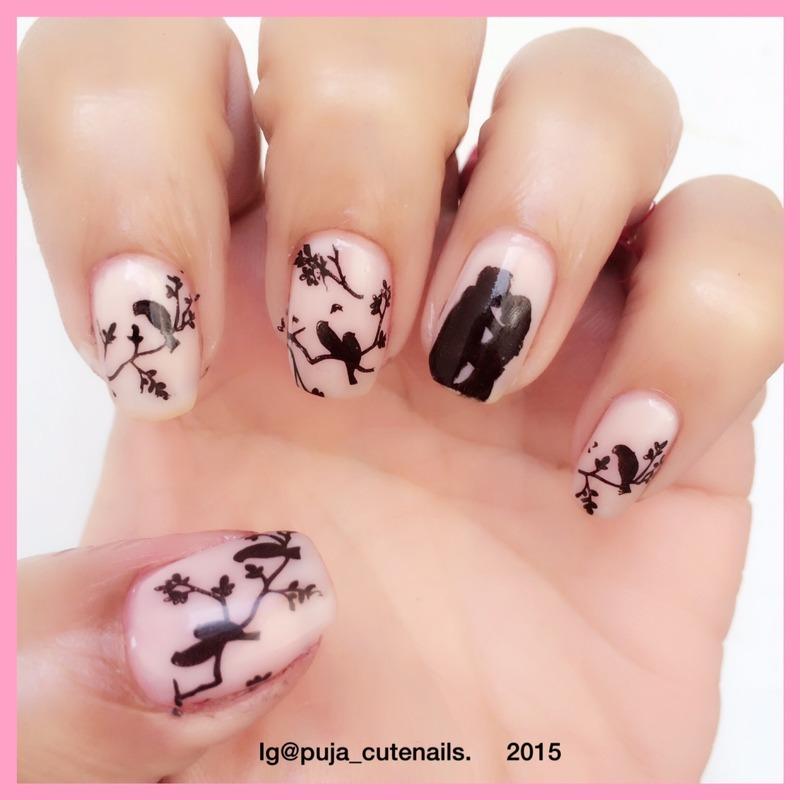Love birds nail art by Puja Malhotra