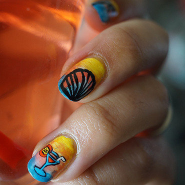 tropicl cocktail nail art by Cathy Neves