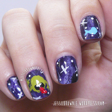Hitchhiker's Guide to the Galaxy Nail Art nail art by Jessi Brownie (Jessi)