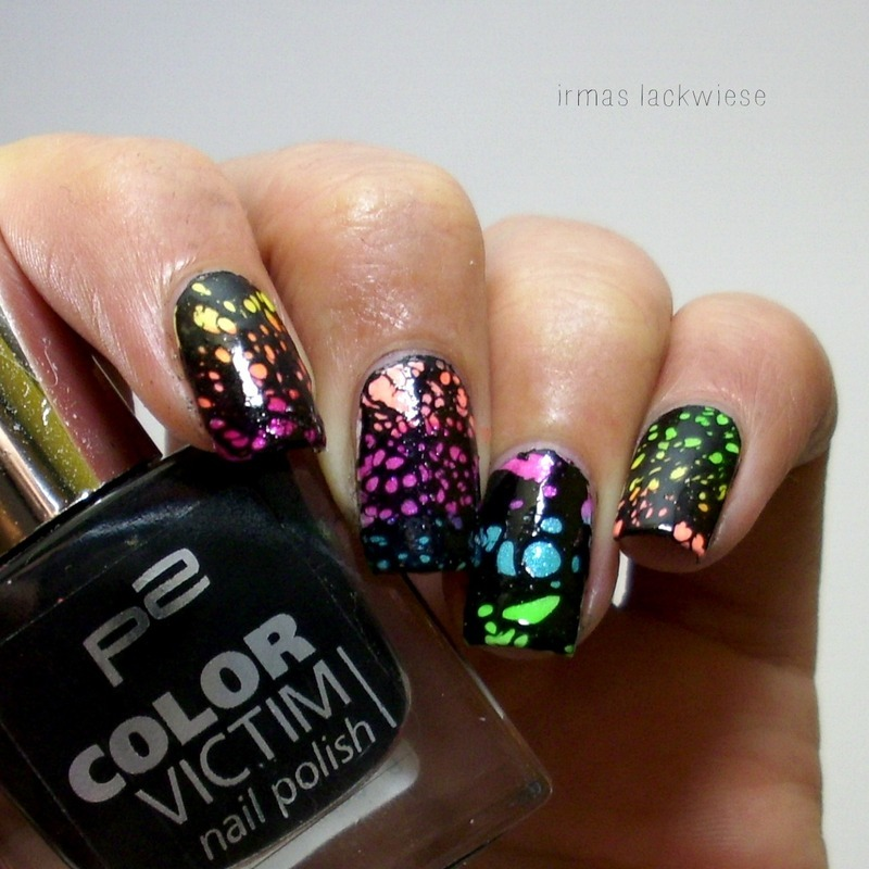 neon water spotted nail art by irma