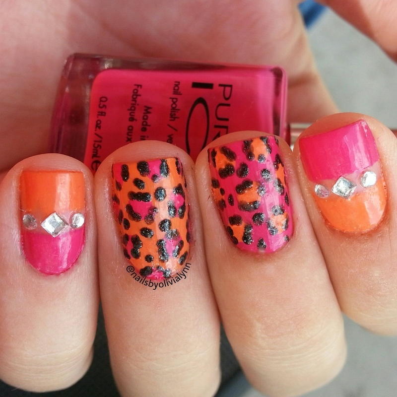 Bling & Leopard nail art by Olivia D.