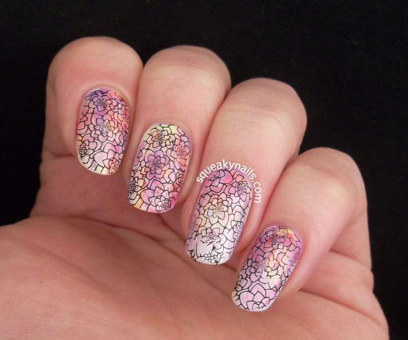 Stained Glass Blooms  nail art by Squeaky  Nails