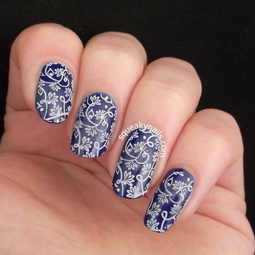 Blue Floral nail art by Squeaky  Nails