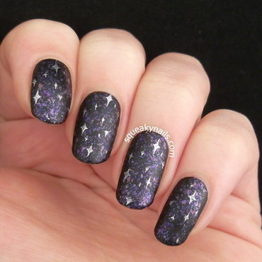 Matte Galaxy nail art by Squeaky  Nails