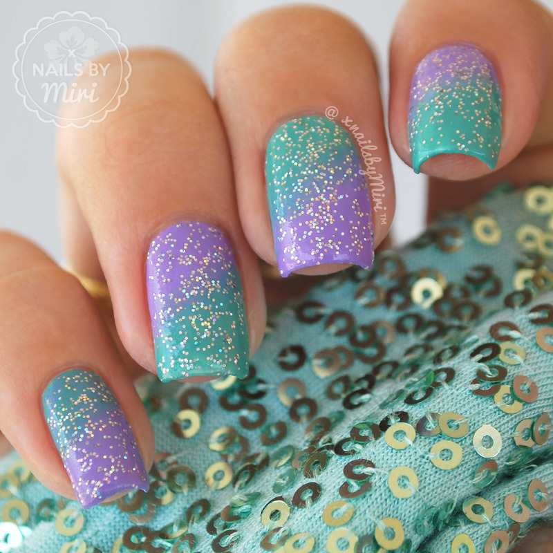 Purple Turquoise Gradient nail art by xNailsByMiri