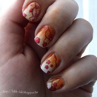 Cherry blossoms nail art by Barbara P.