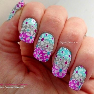 Happy Flowers nail art by Angelique Adams